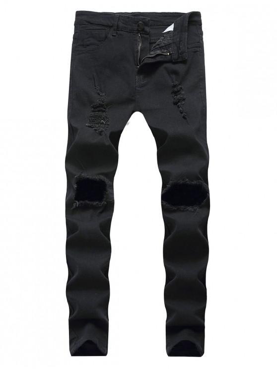Destruídos Decoração Zipper Fly Magro Jeans - Preto 38
