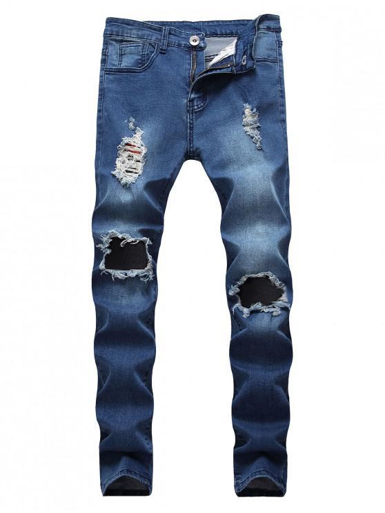 unique Destroyed Decoration Zip Fly Slim Jeans - DENIM DARK BLUE 38