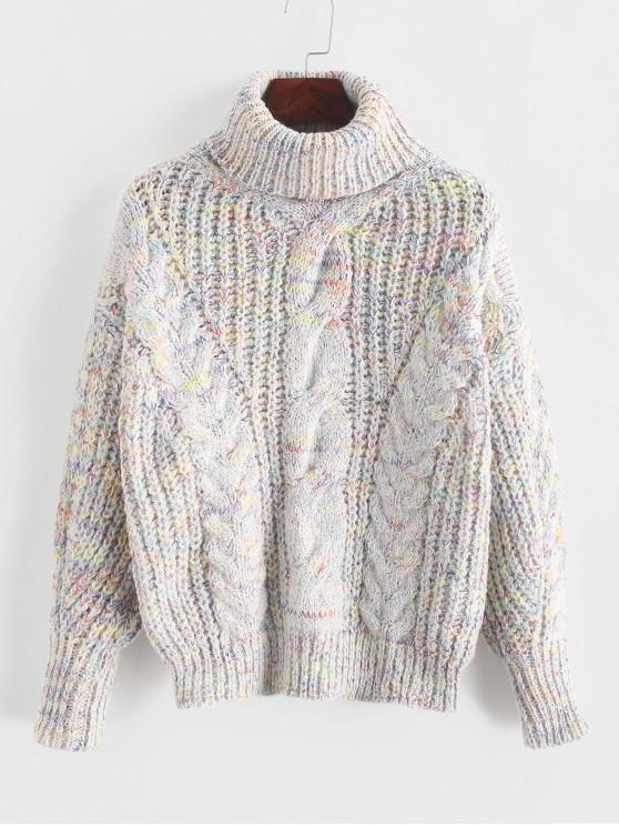 unique Heathered Turtleneck Cable Knit Pullover Sweater - MULTI-A ONE SIZE