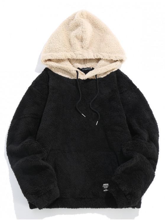 hot ZAFUL Kangaroo Pocket Fluffy Faux Fur Hoodie - BLACK M