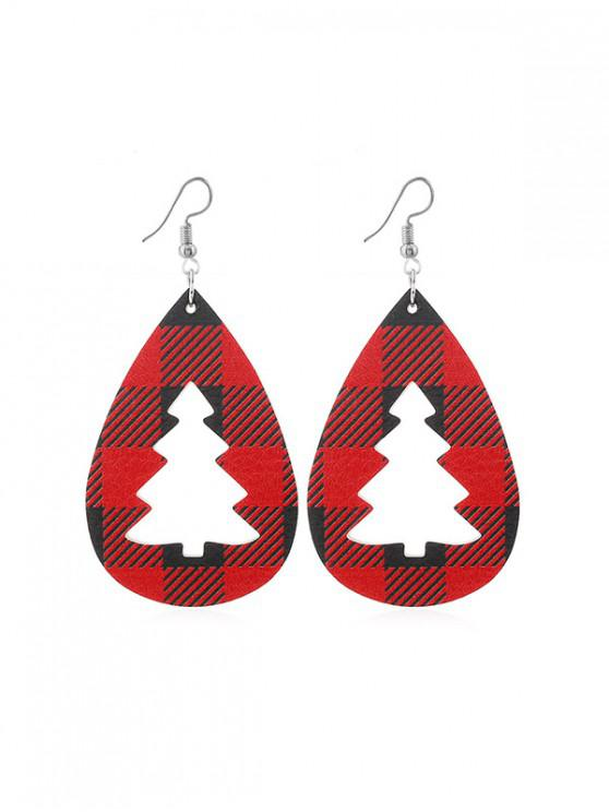 womens Plaid Leather Hollow Christmas Tree Earrings - RED