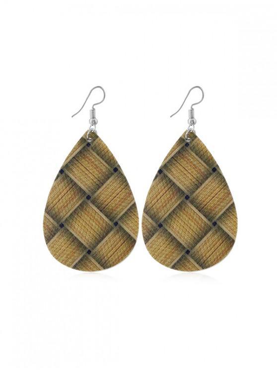 織紋布水滴耳環 - 深褐色