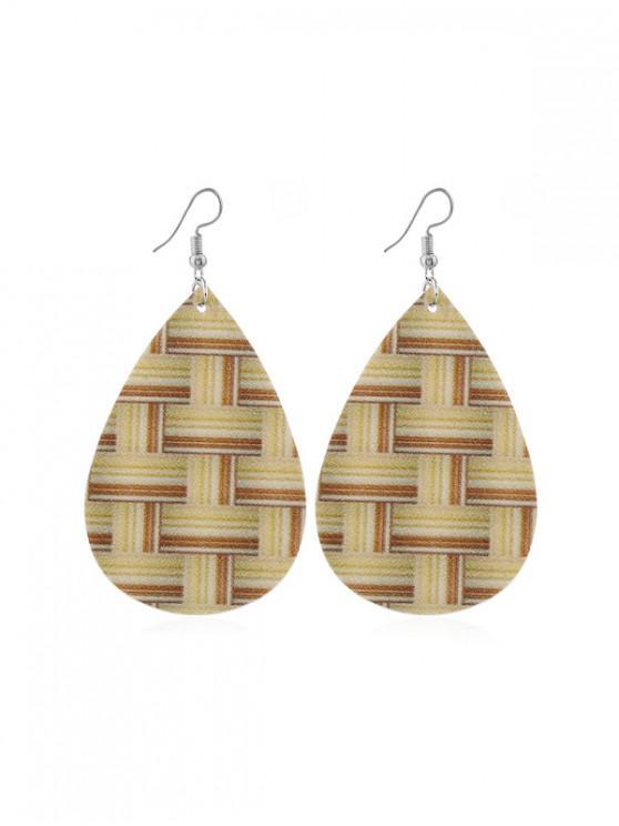 織紋布水滴耳環 - 淺褐色