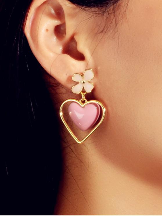 shops Floral Heart Enamel Drop Earrings - LIGHT PINK