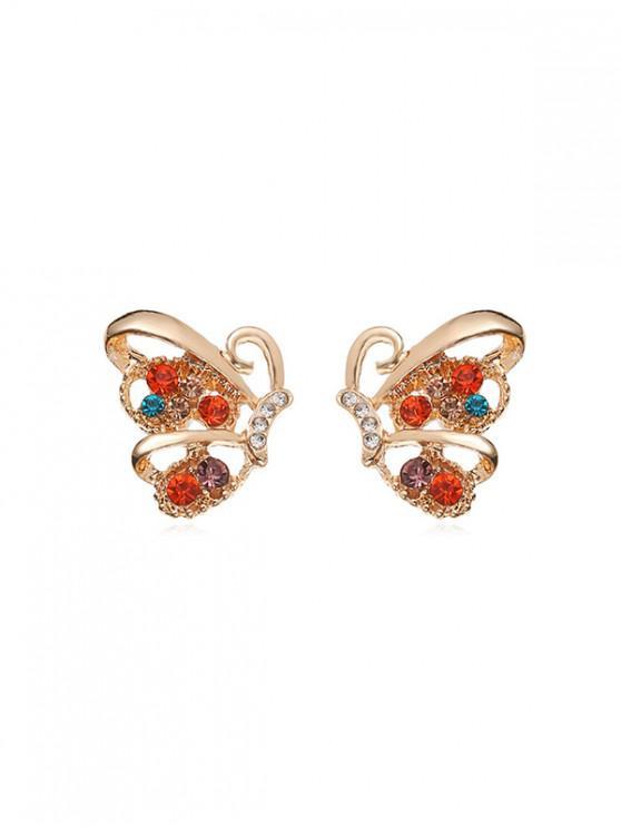 trendy Metallic Butterfly Stud Earrings - GOLD