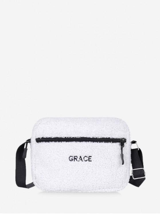chic Suede Crossbody Shoulder Bag - MILK WHITE