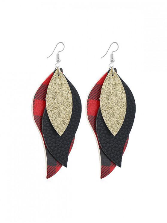 Frunze Forma Plaid picătură cercei - roșu
