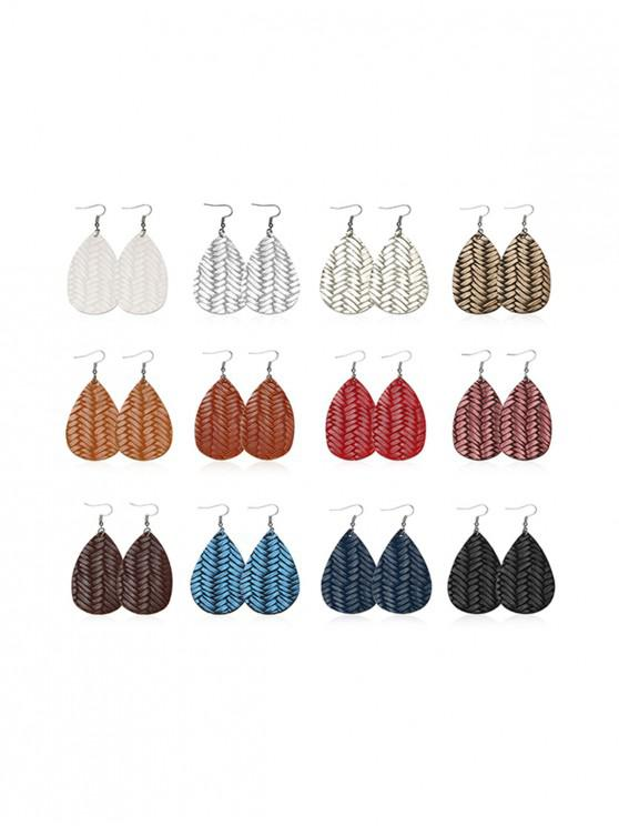 online 12 Pairs Herringbone Water Drop Earrings Set - MULTI