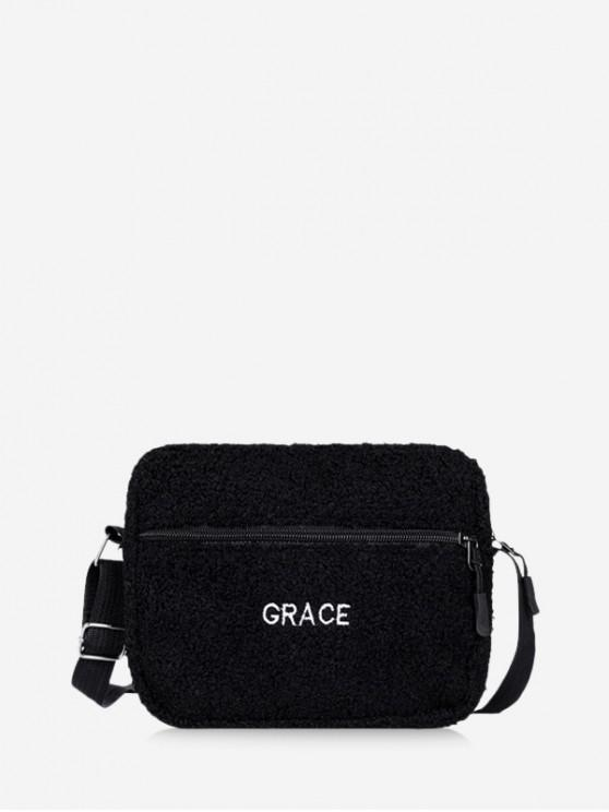 outfits Suede Crossbody Shoulder Bag - BLACK