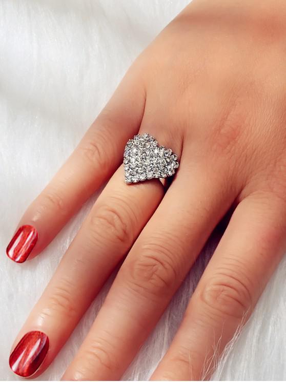 Full stras Heart Inele Finger - Argint