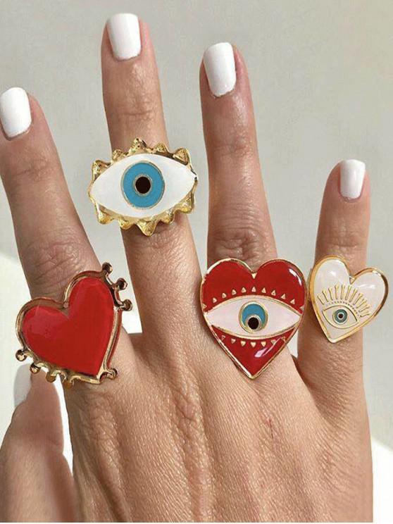 4顆心臟眼形戒指套裝 - 金