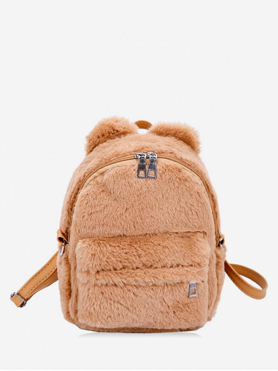 hot Ball Accent Faux Fur Mini Backpack - TAN