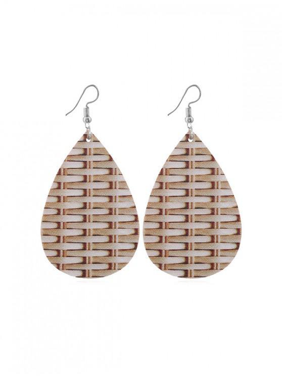 shops Weaving Pattern Leather Water Drop Earrings - TAN