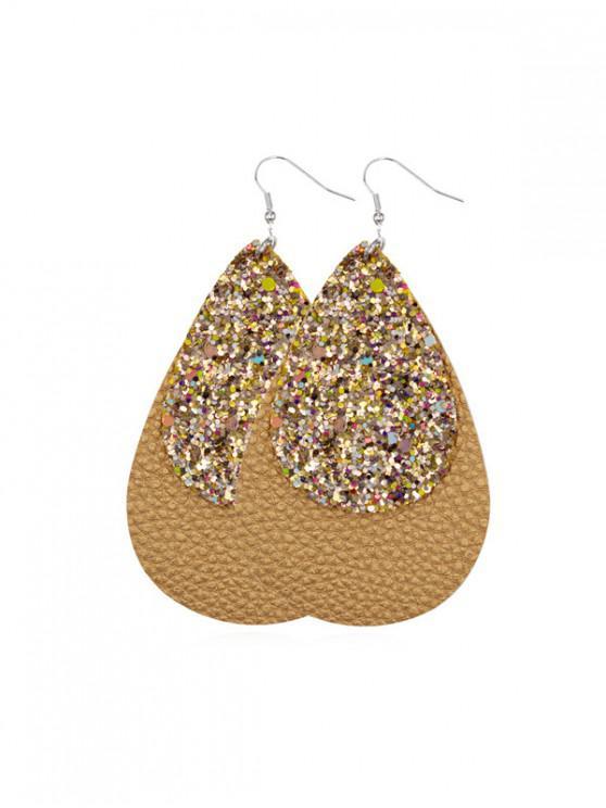 trendy Glitter Leather Water Drop Earrings - GOLD