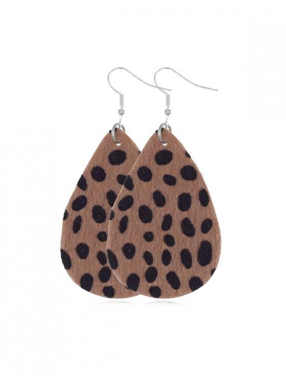 women's Spots Mohair Water Drop Earrings - LEOPARD