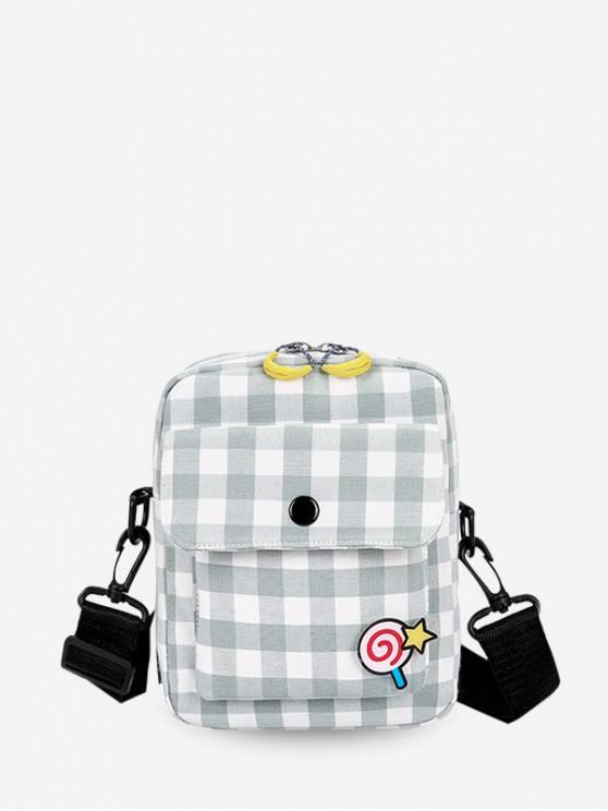 online Sugar Plaid Print Flap Pocket Casual Crossbody Bag - PALE BLUE LILY