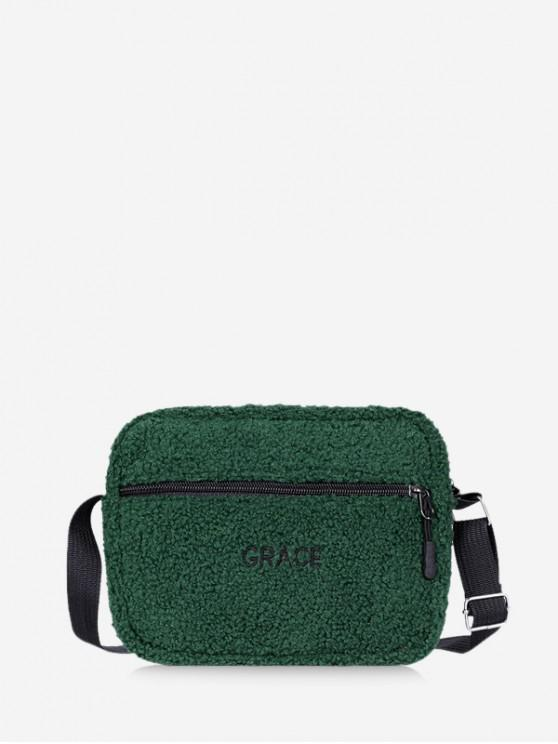hot Suede Crossbody Shoulder Bag - DARK GREEN