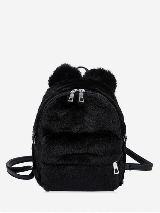 outfits Ball Accent Faux Fur Mini Backpack - BLACK