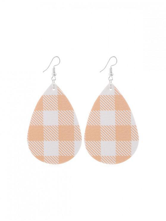 unique Plaid Leather Water Drop Earrings - TANGERINE