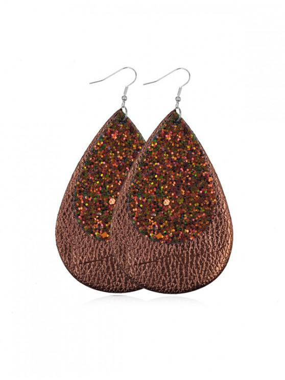 affordable Glitter Leather Water Drop Earrings - COFFEE
