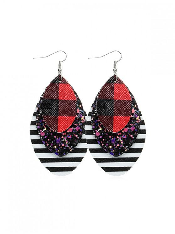 online Sequined Plaid Teardrop Hook Earrings - RED