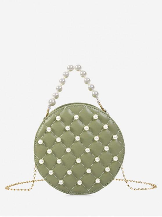 chic Pearl Round Shoulder Bag - LIGHT GREEN