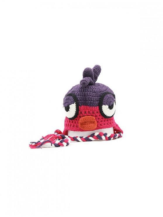 lady Cartoon Bird Braided Crochet Hat - ROSE RED