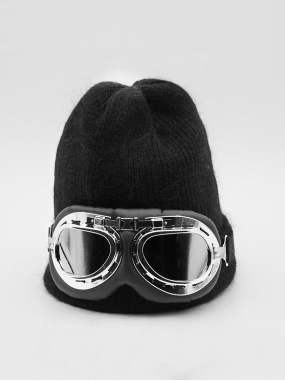 hot Winter Goggles Decorative Knitted Hat - BLACK