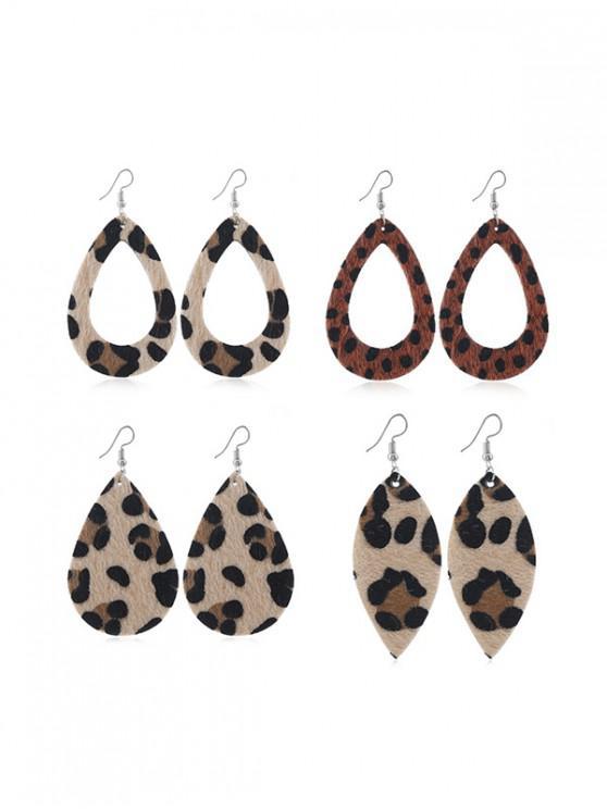trendy 4Pairs Leopard Teardrop Earrings Set - LEOPARD