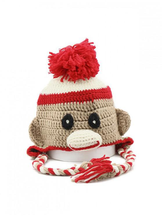 chic Cartoon Ear Crochet Bobble Hat - CAMEL BROWN
