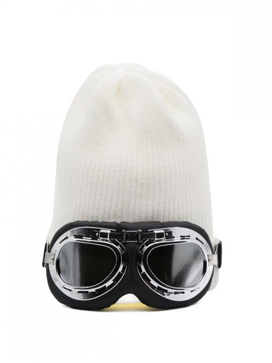 trendy Winter Goggles Decorative Knitted Hat - MILK WHITE