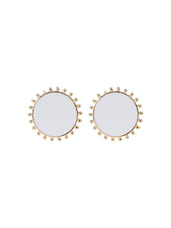 圓形金屬耳釘 - 白色