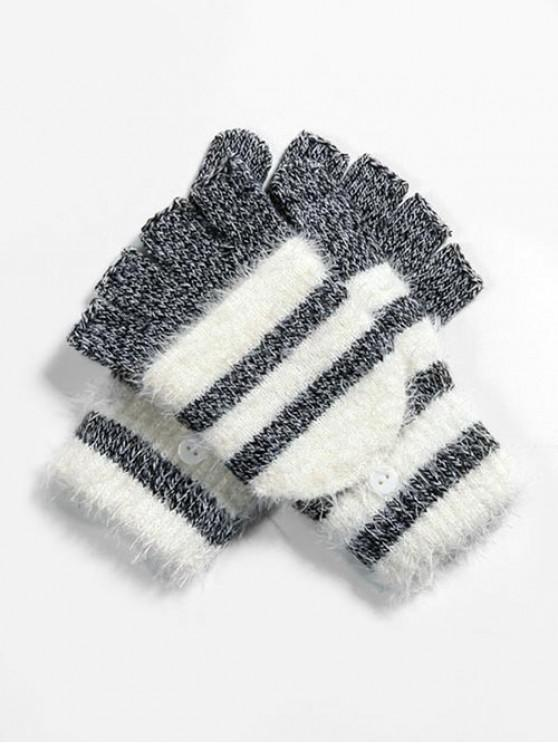 hot Winter Striped Fingerless Knitted Gloves - BLACK