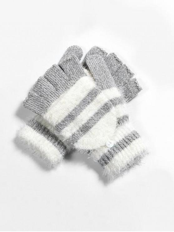 chic Winter Striped Fingerless Knitted Gloves - GRAY