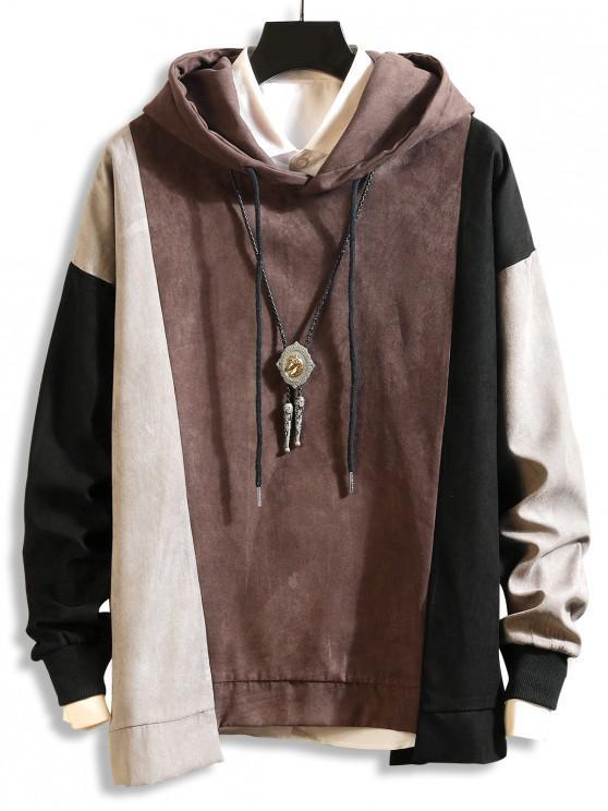 配色 ドロップショルダー 非対称裾 巾着 パーカー - コーヒー XL