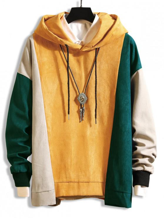 latest Color-blocking Asymmetrical Hem Drawstring Hoodie - YELLOW M