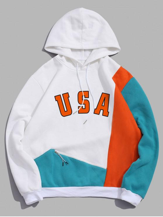 hot Graphic Printed Zipper Pocket Design Hoodie - WHITE 2XL
