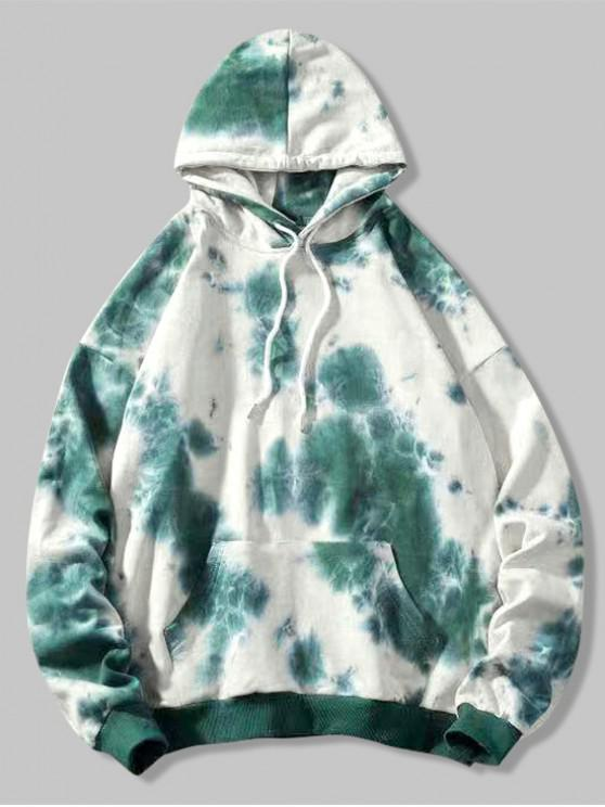 trendy Tie Dye Drop Shoulder Kangaroo Pocket Hoodie - MULTI XL
