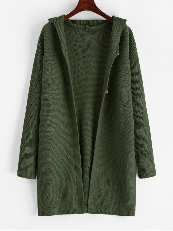 women Buttoned Solid Hooded Cardigan - GREEN M