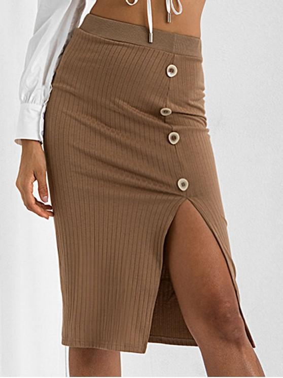 hot Slit Mock Button Bodycon Knitted Skirt - BROWN M