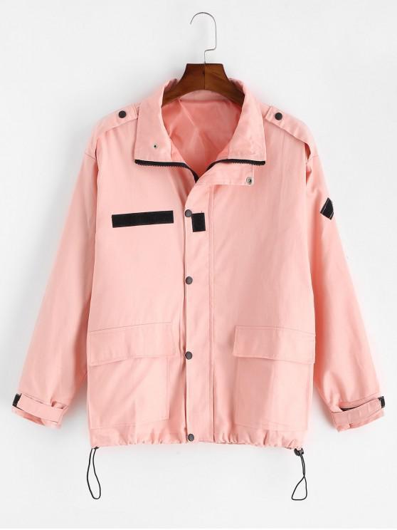 フラップポケットカジュアルジップアップジャケット - ピンク L