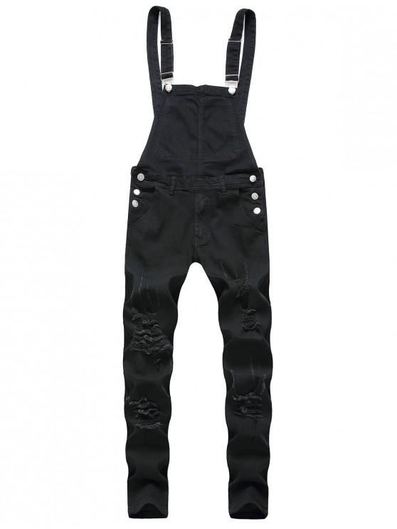 lady Solid Color Ripped Zipper Denim Overalls - BLACK L
