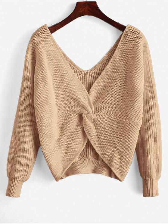 outfit ZAFUL x Yasmine Bateman Twisted Plunging Drop Shoulder Jumper Sweater - LIGHT KHAKI M