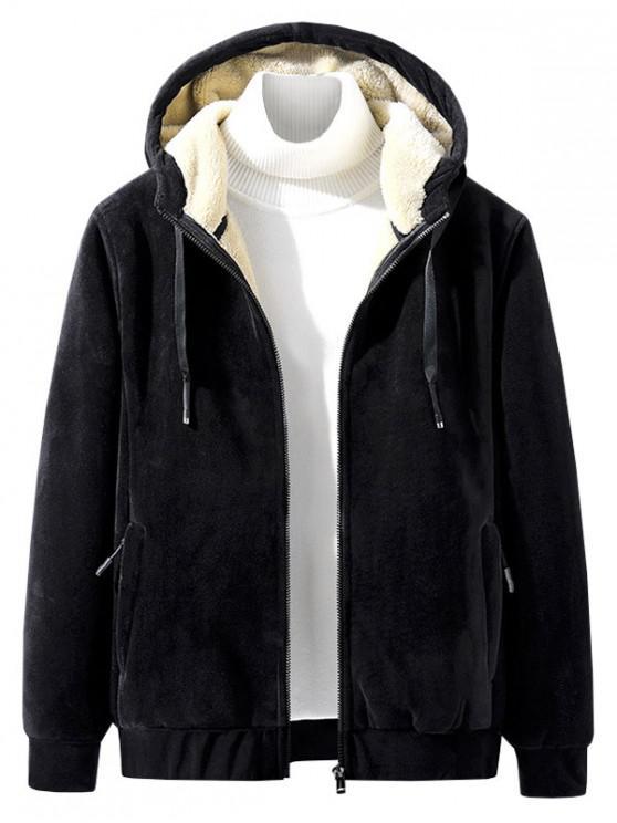 shops Raglan Sleeve Solid Plush Hooded Jacket - BLACK 2XL