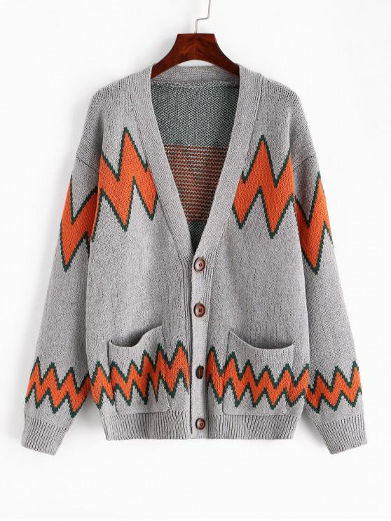 women Geometric Graphic Button Knitted Cardigan - MULTI XS
