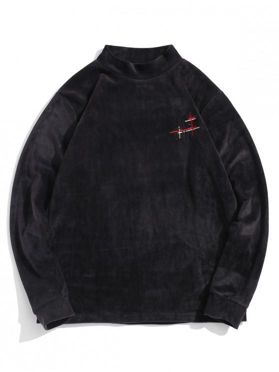 unique Mock Neck Casual Fleece Sweatshirt - BLACK 2XL