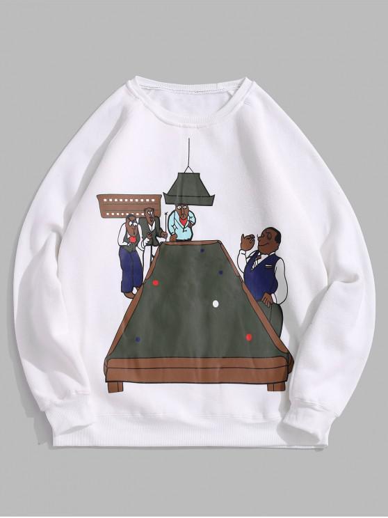 womens Cartoon Pool Table Graphic Fleece Raglan Sleeve Sweatshirt - WHITE 2XL