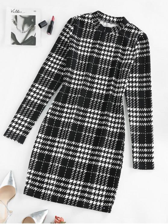 ZAFUL Mini Robe Moulante à Carreaux de Grille - Blanc S