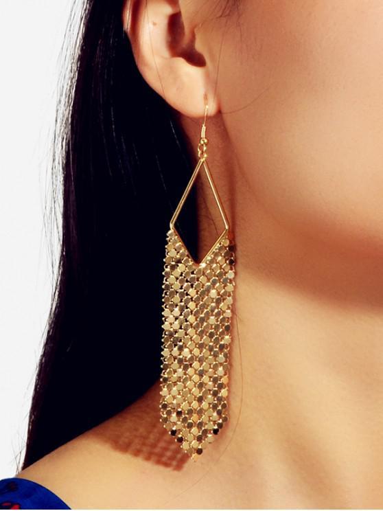 Metallic Fringe Long Drop Earrings - 金