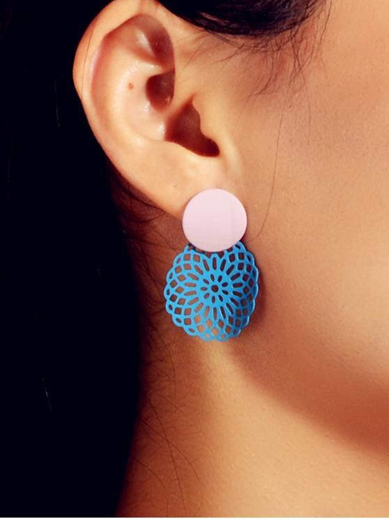 Hollow Out Flower Stud Earrings - 深藍的天空